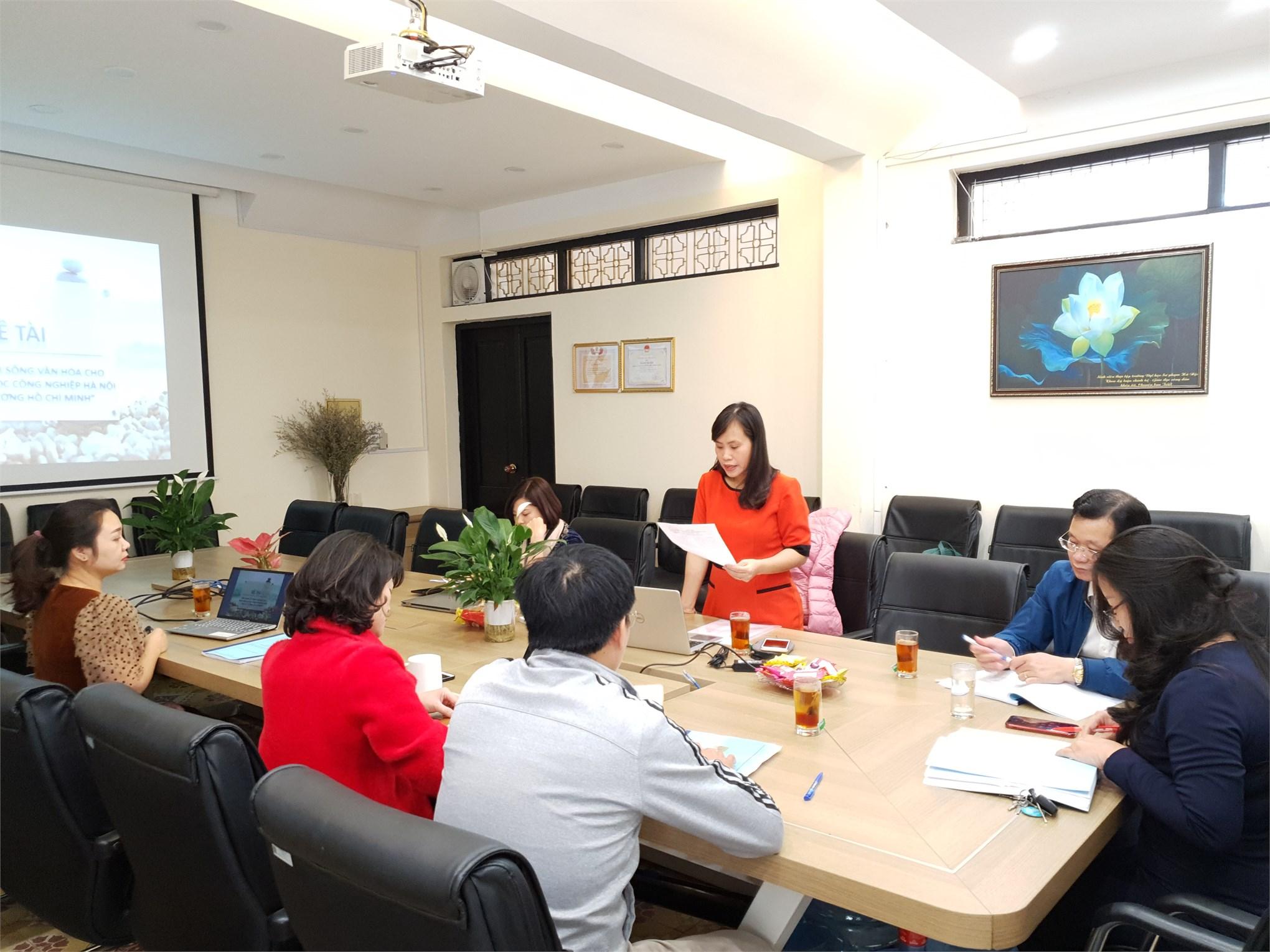 """Khoa Lý luận Chính trị - Pháp luật tổ chức đánh giá cấp đơn vị đề tài nghiên cứu khoa học cấp trường: """"Xây dựng lối sống văn hóa cho sinh viên Đại học Công nghiệp Hà Nội theo Tư tưởng Hồ Chí Minh"""""""